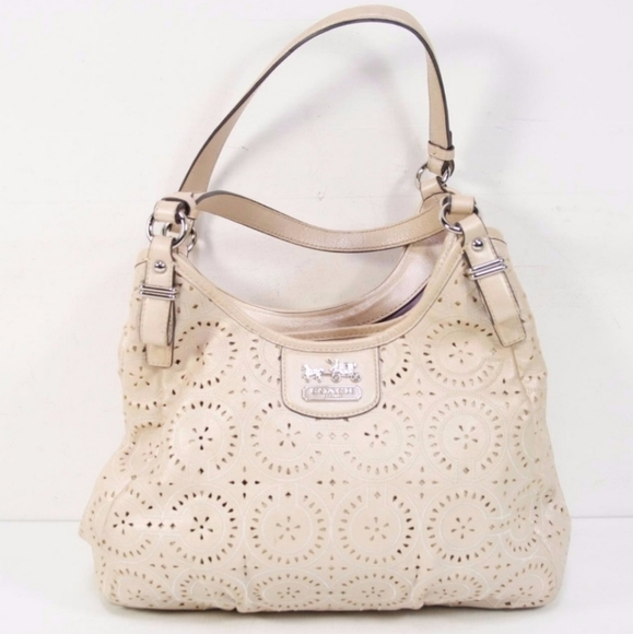 Coach Handbags - Coach Madison Maggie Purse, Pearlescent, Eyelet